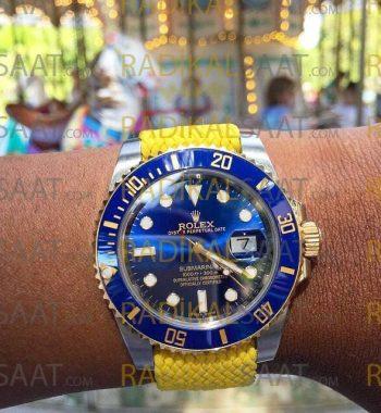 Rolex Perlon Sarı Örgü Kordon