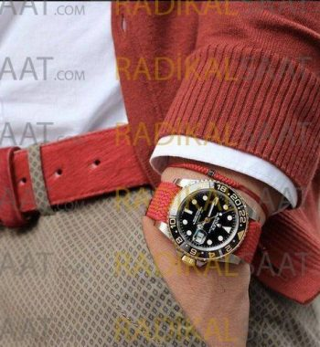 Rolex Perlon Kordon Kırmızı Örgü