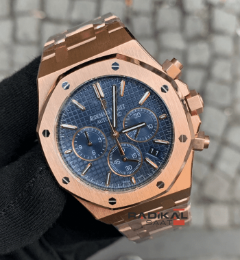 Audemars Piguet Royal Oak Rose Kasa Mavi Dial 41mm Replika Erkek Kol Saati