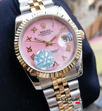 Rolex Datejust 36 MM Pembe Roma Rakamlı Replika Bayan Kol Saati