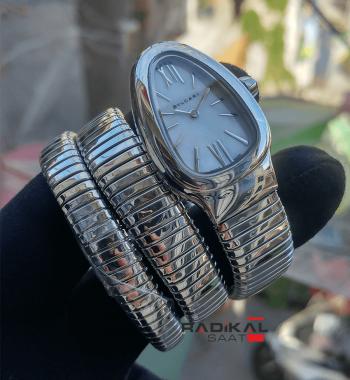 Bayan Bvlgari Serpenti Yılan Modeli 2 Sarmal Silver Taşsız