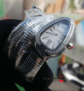 Bayan Bvlgari Serpenti Yılan Modeli 2 Sarmal Silver Taşlı