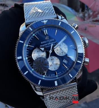 Breitling Superocean Chronograph Mavi Besel Kadran Replika Erkek Kol Saati