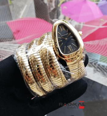 Bvlgari Serpenti Yılan Modeli Gold Renk 3 Sarmalı Siyah Kadran Model