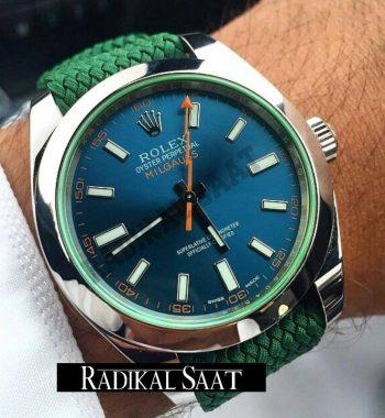 Rolex Yeşil Perlon Örgü Kordon