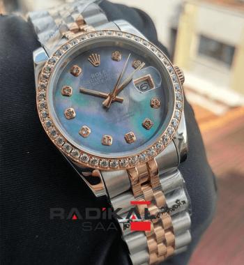 Rolex Datejust 31 MM Mavi Sedef Kadranlı Replika Bayan Kol Saati