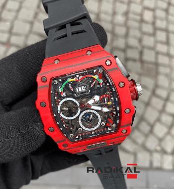 Richard Mille McLaren F1 RM50-03 Kırmızı Carbon Kasa Replika Erkek Kol Saati