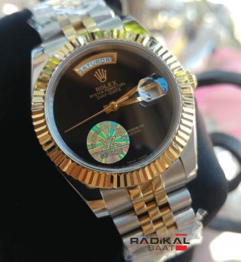Rolex Day-Date Jubile Kordon Siyah Kadran Replika Erkek Kol Saati