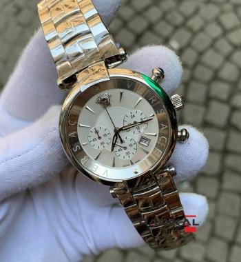 Versace Silver Kasa Beyaz Kadran Unisex Replika Kol Saati