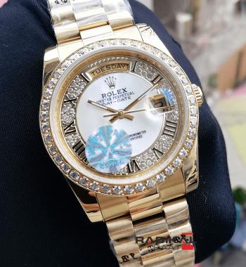 Rolex Day-Date 36 MM  Swarovski Taşlı Beyaz Sedefli Kadran Replika Bayan Kol Saati