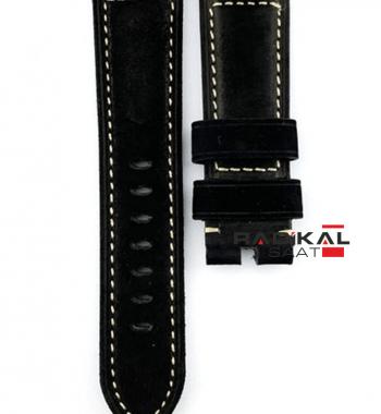 PANERAI OFFICINE 26mm 24mm Siyah Hakiki Deri Saat Kordonu