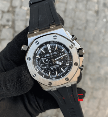 Audemars Piguet Royal Oak Rainbow Siyah 44mm Replika Erkek Kol Saati