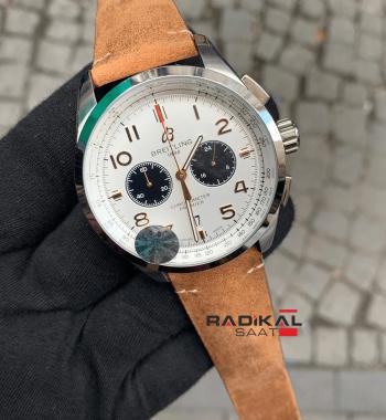Breitling Premier Beyaz Kadran Taba Kordon Replika Erkek Kol Saati