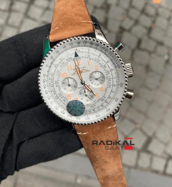 Breitling 1884 Chronometre Navitimer Beyaz Kadran Replika Erkek Kol Saati