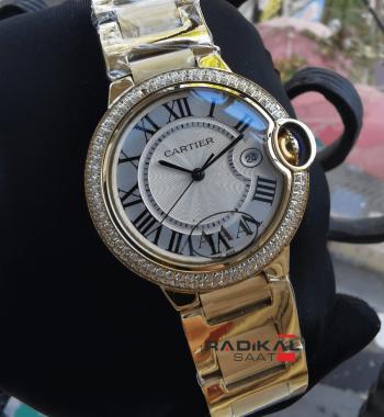 Cartier Ballon Bleu Gold Kasa Taşlı Besel 36 MM Replika Bayan Kol Saati