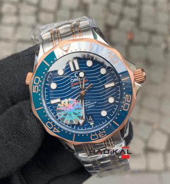 Omega Seamaster Rose Mavi Kadran Replika Erkek Kol Saati