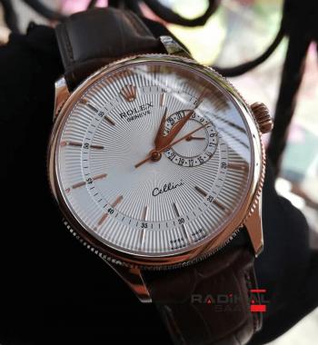 Rolex Cellini Rose Kasa Kahve Rengi Deri Kordon Replica Erkek Kol Saati