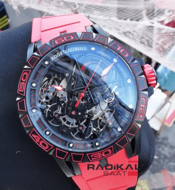 Roger Dubuis Excalibur Horloger Aventador Kırmızı Silikon Kordon Replika Erkek Kol Saati