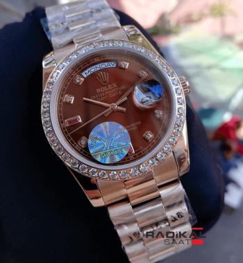 Rolex Day-Date Rose Rose Kahve Rengi Kadran Replika Bayan Kol Saati