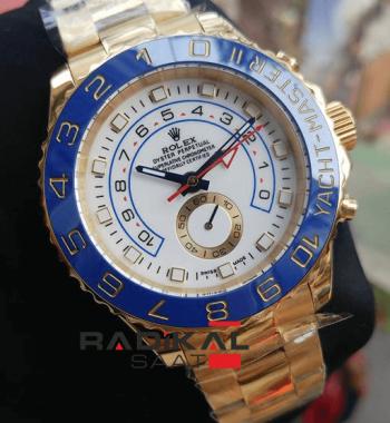 Replika Rolex Saat-Rolex Yacht-Master II Gold Kasa Mavi Besel