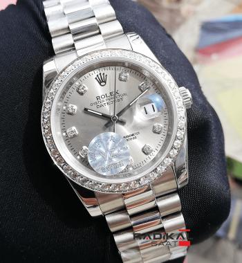 Rolex Replika Datejust Gri Kadran Baget Talı Bezel