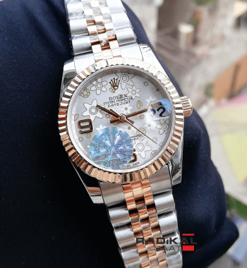 Rolex Datejust 31 MM Çiçek Desenli Replika Bayan Kol Saati