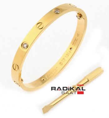 Cartier Love 16mm Gold Taşlı Bayan Bileklik