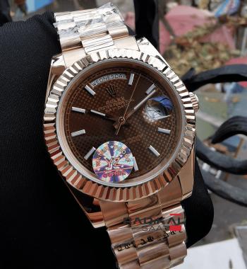 Rolex Day-Date Rose Kasa Brown Kadran Replika Erkek Kol Saati