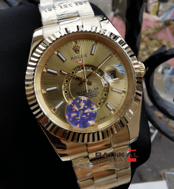 Rolex Sky-Dweller Gmt Gold Kasa Replika Erkek Kol Saati