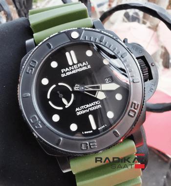 Panerai Submersible Mike Horn Yeşil Silikon Kordon Replika Erkek Kol Saati