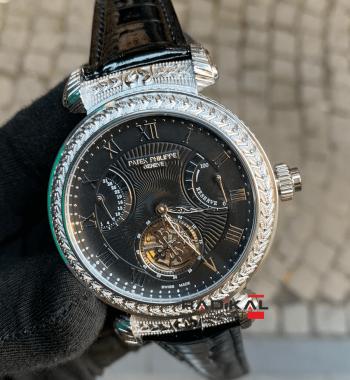 Patek Philippe İşlemeli Silver Kasa Siyah Kadran Otomatik Mekanizma Replika Erkek Kol Saati