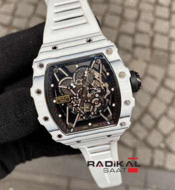Richard Mille RM 35-01 Beyaz Carbon Kasa İskelet Kadran Replika Erkek Kol Saati