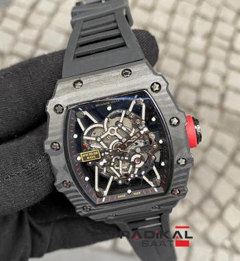 Richard Mille RM35-02 Carbon Siyah Kasa İskelet Kadran Replika Erkek Kol Saati