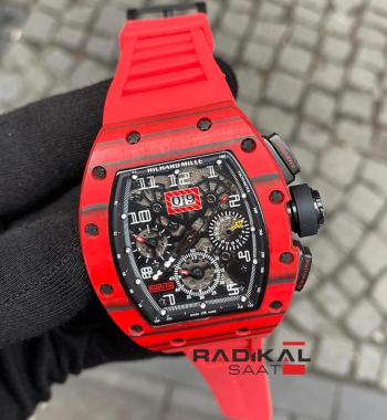 Richard Mille RM011-FM Kırmızı Kasa Kordon Replika Erkek Kol Saati