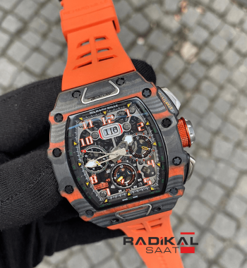 Richard Mille RM11-03 Carbon Kasa Turuncu Kordon Replika Erkek Kol Saati