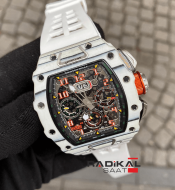 Richard Mille RM11-03 Beyaz Carbon Kasa Beyaz Silikon Kordon Replika Erkek Kol Saati