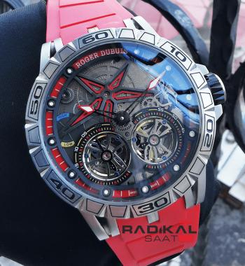Roger Dubuis Excalibur Spider Pirelli Flying Double Tourbillon Silver Kasa Replika Erkek Saati