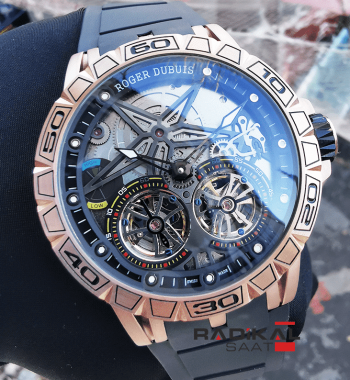 Roger Dubuis Excalibur Spider Pirelli Flying Double Tourbillon Rose Kasa Replika Erkek Saati
