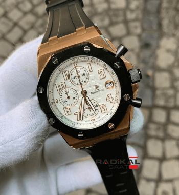 Audemars Piguet Royal Oak Rose Kasa Kaucuk Kordon Replika Erkek Saati
