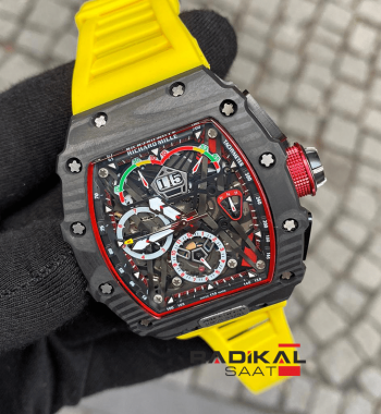 Richard Mille RM50-03 McLaren F1 Sarı Silikon Kordon Replika Erkek Kol Saati