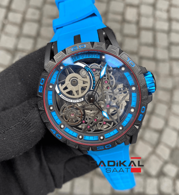 Roger Dubuis Mavi Excalibur Spider Pirelli Flying Double Tourbillon Replika Erkek Saati