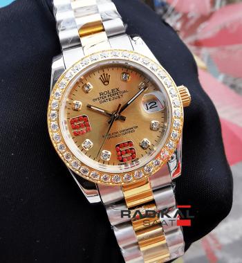 Rolex Datejust 31 mm Baget Taşlı Replika Bayan Kol Saati