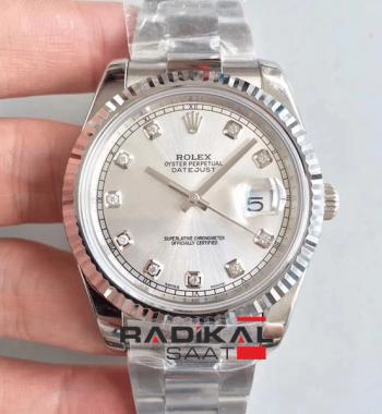 Replika Swiss ETA Rolex Datejust Silver Kasa 41MM İsviçre 3235 Mekanizma
