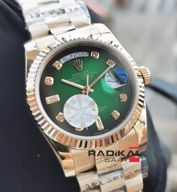 Rolex Day-Date 36 MM Gold Kasa Tırtıklı Besel Yeşil Kadran Replika Bayan Kol Saati