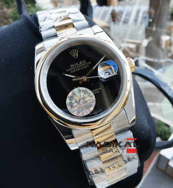 Rolex Datejust 36 MM Düz Besel Siyah Kadran Replika Bayan Kol Saati