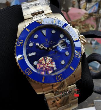 Rolex Submariner Gold Kasa Mavi Kadran Replika Erkek Kol Saati