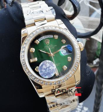 Rolex Day-Date 36 MM Gold Kasa Yeşil Kadran Taşlı Besel Replika Bayan Kol Saati