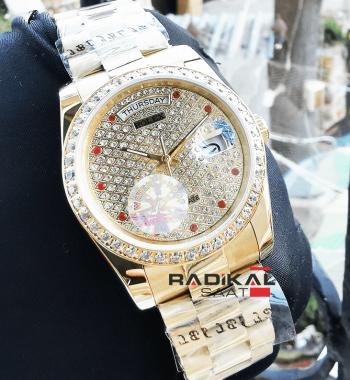 Rolex Datejust 36 MM Gold Kasa Elmas Taşlı Kadran Replika Bayan Kol Saati