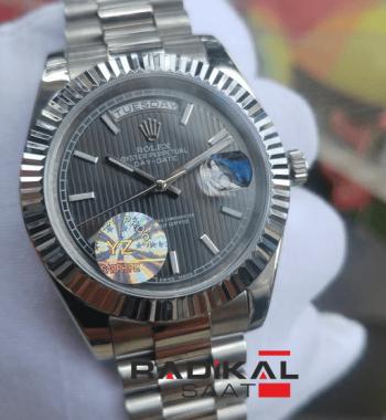 Replika-Rolex Day-Date Gri Kadran 40mm Erkek Kol Saati