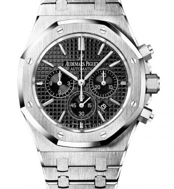 Swiss ETA- Audemars Piguet Royal Oak Silver Chronograph Black Dial